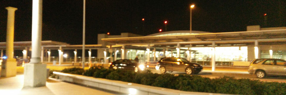 Airports in Cyprus at night - Larnaca