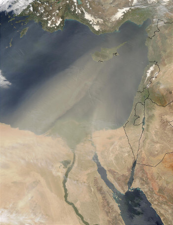 Dust storm - Satellite image