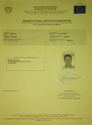Example of a work permit, yellow slip, residence permit or registration certificate in Cyprus