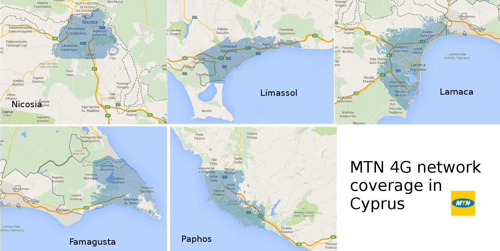 MTN's 4G network coverage in Cyprus